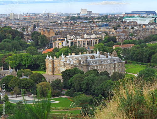 Edinburgh skyline and Holyrood Palace, looking down from Arthur's Seat, which is a popular attraction for hikers Poster