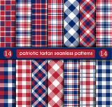 Patriotic Tartan Set of White , Blue, Red Seamless Patterns - 145055247