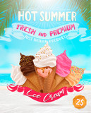 Fototapety Ice cream poster design: chocolate, vanilla, scoops,waffle cone,different colors, forms. Summer beach,vector illustration, editable elements,3d tasty set,delicious Icecream Flyer Design, background