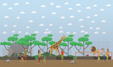 Zoo concept vector illustration in flat style design.