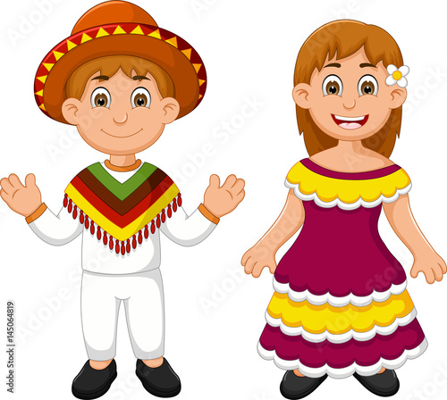 In de dag Indiërs mexican traditional costume cartoon