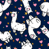Seamless vector pattern with cute alpacas and hearts and stars. Child illustration with a lama from Peru. In the Japanese anime style. - 145065223