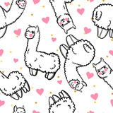 Seamless vector pattern with cute alpacas and hearts and stars. Child illustration with a lama from Peru. In the Japanese anime style. - 145065230