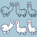vector set with cute alpacas. Child illustration with a lama from Peru. In the Japanese anime style. - 145065256