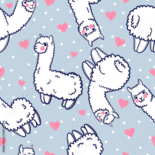 Cotton fabric Seamless vector pattern with cute alpacas and hearts. Child illustration with a lama from Peru. In the Japanese anime style.