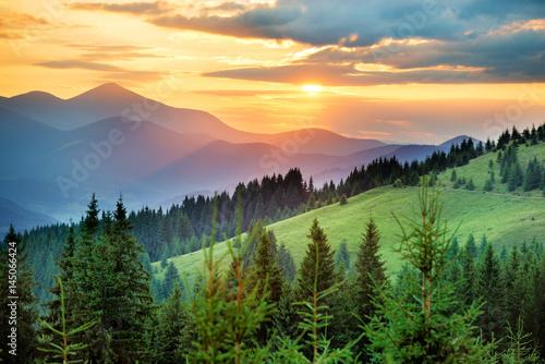 Fototapeta Beautiful sunset in the mountains