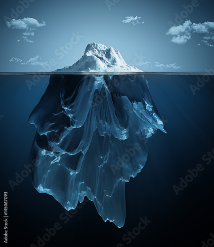 iceberg over and under the water