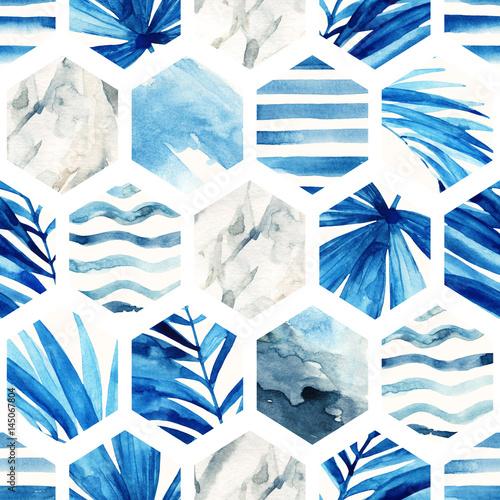 Fototapeta Watercolor hexagon seamless pattern.