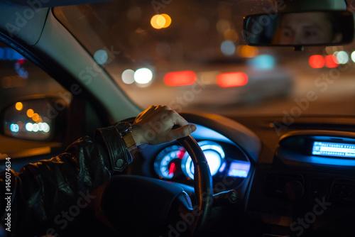 Foto op Aluminium Las Vegas The man drive a car on the road. Evening night time