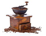 coffee grinder and roasted coffee beans isolated on white background - 145077269