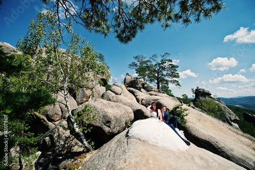 Poster Lovely wedding couple at amazing landscapes with rock Dovbush, Carpathian mountains at Ukraine