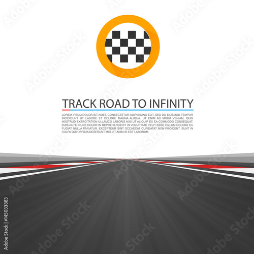Fotobehang F1 Track road to infinity, Road vector highway, Vector illustration, speedway background.