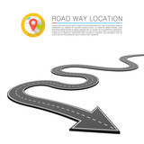 Paved path on the road, Road location arrow, Vector background