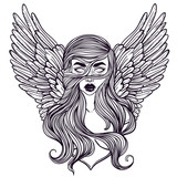 Scandinavian goddess. Valkyrie with wings. Zombie or vampire Girl Line Art. Hand drawn vector illustration. Cartoon style. Could be used as design for coloring book or as part of Halloween decor. - 145088281