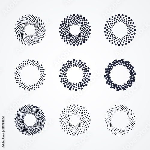 Halftone dots in circle shape. Round dotted logo design element. Black and white isolated banner decoration. - 145088806