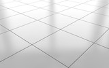 White glossy ceramic tile floor background. 3d rendering - 145093200