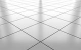 Fototapety White glossy ceramic tile floor background. 3d rendering