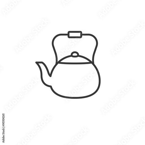 Traditional vintage kettle, outline icon