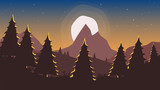 Beautiful sunrise / sunset over mountain scenery. With trees and early stars. Vector file is layered and fully customizable. Ideal as background for dreamy / romantic poster, banner.