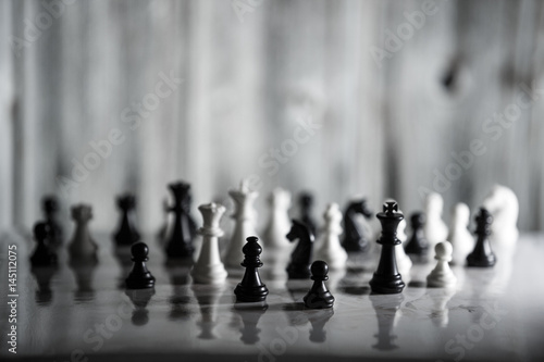 Poster Chess strategy concept is on the bright background