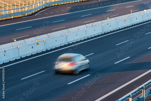 Poster car on the empty highway - travel concept