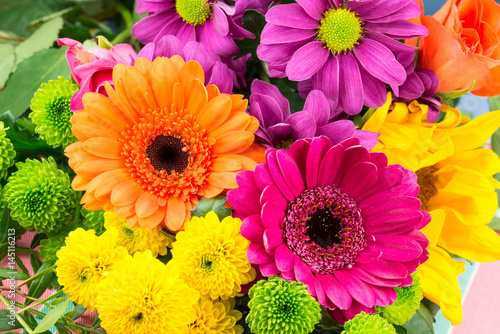 Fotobehang Gerbera Pink and orange Transvaal daisy's in bunch of flowers.