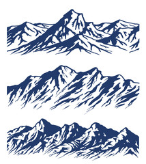 Set of Mountain range silhouettes isolated on white background. Blue vector illustration with copy-space. © Makhnach