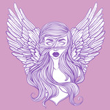 Scandinavian goddess. Valkyrie with wings. Zombie or vampire Girl Line Art. Hand drawn vector illustration. Cartoon style. Could be used as design for coloring book or as part of Halloween decor. - 145119401