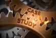 Case Study on Mechanism of Golden Cogwheels. Case Study on Mechanism of Golden Metallic Gears with Glow Effect. 3D Rendering.