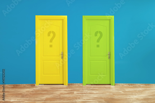 Colorful doors in interior. Poster