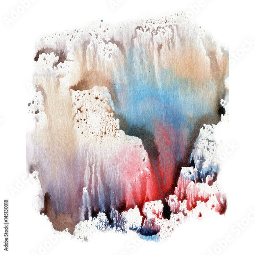 Illustration watercolor texture of transparent blue, brown, pink and gray colors. Watercolor abstract background, spots, blur, fill, print. - 145130018