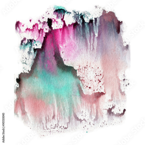 Illustration watercolor texture of transparent blue, brown, pink and gray colors. Watercolor abstract background, spots, blur, fill, print. - 145130040