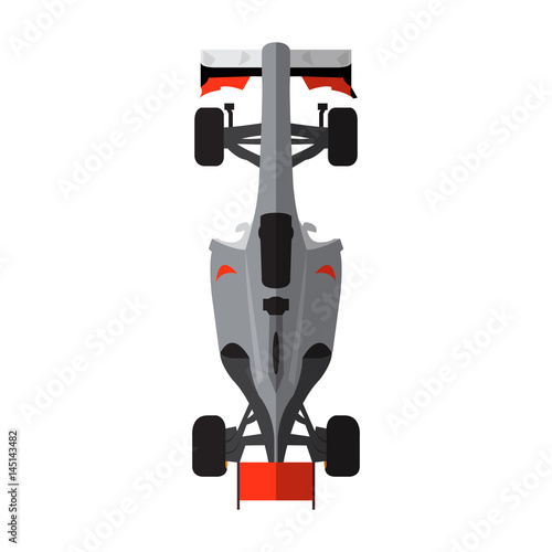 Fotobehang F1 Top view of an isolated racing car, Vector illustration