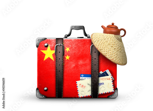 Foto op Canvas Peking China, vintage suitcase with China flag
