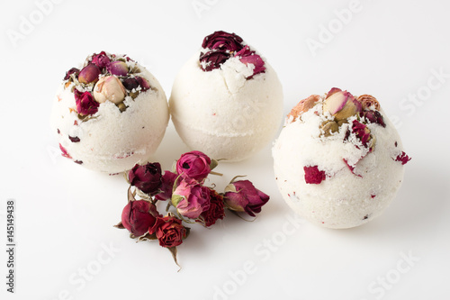 Bomb salt bath decorated with dried roses Poster