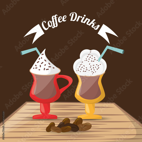 coffee drinks glass cup foam beans over table vector illustration eps 10