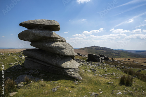 Roughtor granite tor , with Brown willy in background, Cornwall, UK Poster