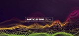 Futuristic infographics. Wavy particles grid. Abstract sound wave flow background - 145153232