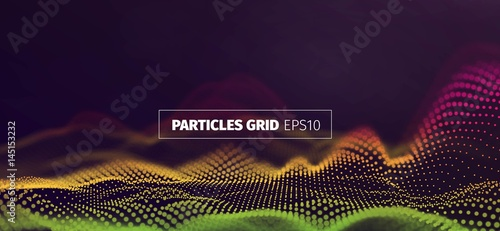 Futuristic infographics. Wavy particles grid. Abstract sound wave flow background