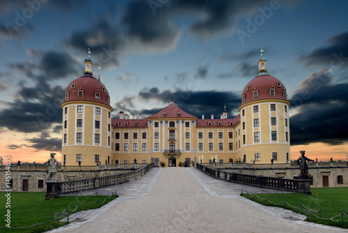 Plakat panoramic view of Moritzburg castle, Saxony, Dresden, Germany