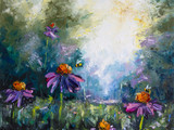 Landscape with flowers and bees - Original oil painting on canvas - Hand painted - Modern Art - 145161858