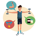 man sports barbell training lifestyle vector illustration eps 10
