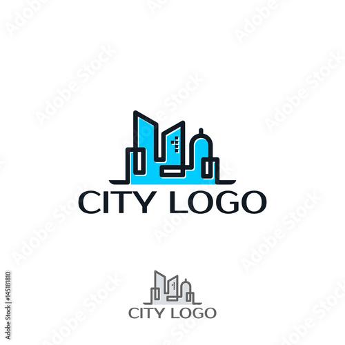 modern line art City logo template - 145181810