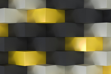 Pattern with black, white and yellow rectangular shapes