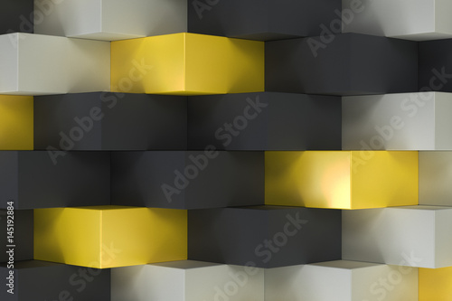 Fototapeta Pattern with black, white and yellow rectangular shapes