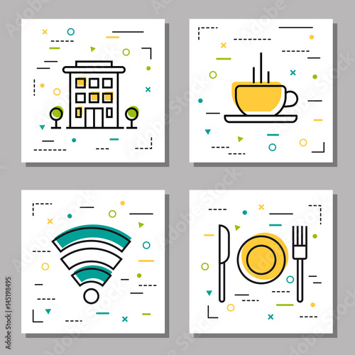 Four hotel service linear icons