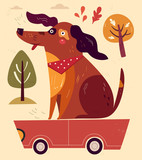 Cartoon illustration with funny dog sitting on the red car