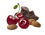 Cherry, chocolate, almond isolated on white background