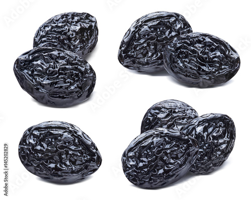 Dry prunes set isolated on white background