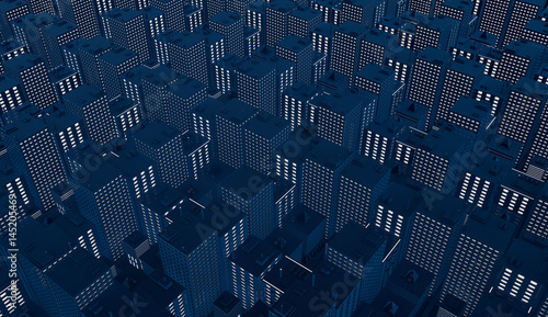 Dark abstract background of city rectangles - 145205469